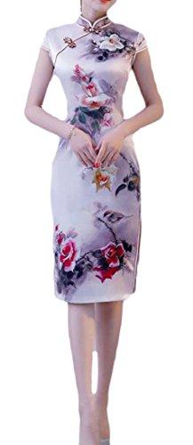 Dal Sottile Donne 3 Cinese Elegante Cheongsam Cromoncent Del Di Di Vestito Collare Delle Qipao Stand Stile Seta qgw6x1IzW