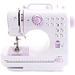 ZDZDZ Portable Sewing Machine, Hand Held Overlock Quilting Double Speed Sewing Machine with 12 Stitches (purple)