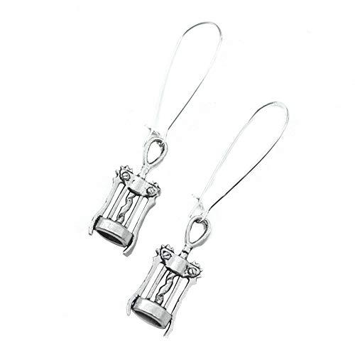 Corkscrew Wine Silver Charm Earrings
