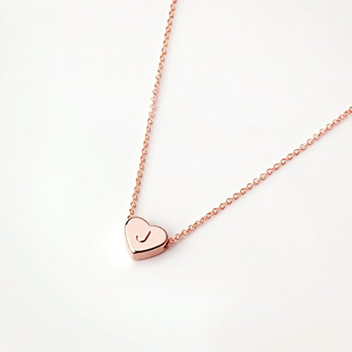 Heart Initials Necklace (Rose Gold Initial Necklace Valentine's Day Gifts for Her Personalized Necklace Heart Necklace (J))