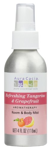 Aura Cacia Room and Body Mist, Refreshing Tangerine and Grapefruit, 4 Fluid Ounce (Aura Cacia Mist)