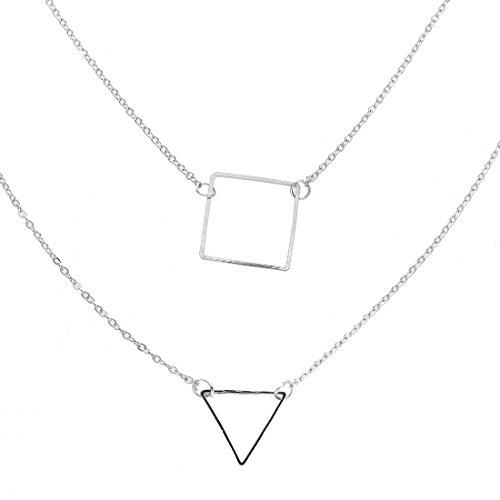 SODIAL(R) Women's Geometric Square Pendant Elegant Double Chain Jewelry Necklace - ()