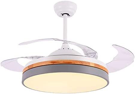Ceiling Fan Light Remote Control Dimmable LED Chandelier with Retractable Invisible Blades Silent Motor for Living Room Bedroom