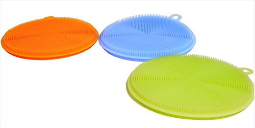 SAFE SCRUBS Silicone Dish Scrubber | Antibacterial Kitchen Sponge | Keep Your Family Safe | Food-Grade Material, Smell-Free, 3 Pack of Orange, Blue, and (Handled Rail Brush)