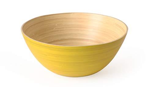 Avocango Beautiful Round Large Wooden Bamboo Serving Salad Fruit Bowl (Yellow)