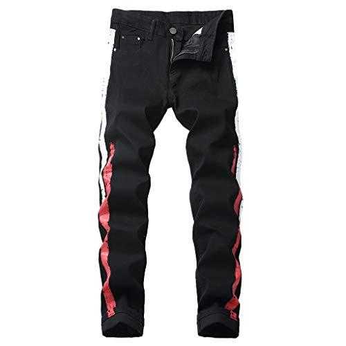 Acne Jeans Dress - iHPH7 Jeans Men Slim Fit Jeans Stretch Men Fashion Slim Fit Personality Stretchy Casual Printed Jeans Denim Pants 34 3- Black