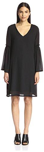 S.H.E. Soul Harmony Energy Women's Bell Sleeve Shift Dress, Black, S
