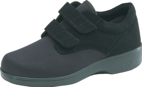 Aetrex Women's Ambulator Stretcher Double Strap Velcro Shoes,Black Spandex,10.5 W by Aetrex