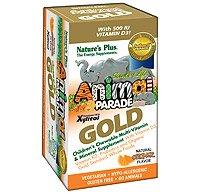 SOL Animal Parade Gold-Children's Multi-Vitamin & Mineral Orange Flavor Nature's Plus 60 Chewable (Animal Parade Orange Flavor)