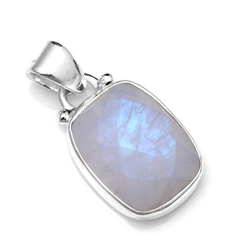 (Silver Palace Sterling Silver Natural Rainbow Moonstone Pendants for Women and Girls)