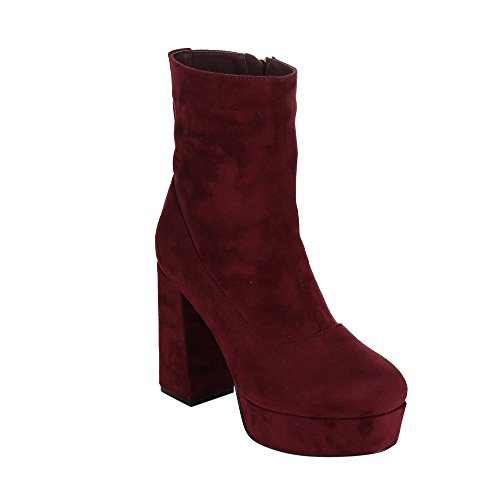 Heel Booties GF44 Zipper Block BONNIBEL Womens Burgundy Platform Ankle High Inside gwq1zYF