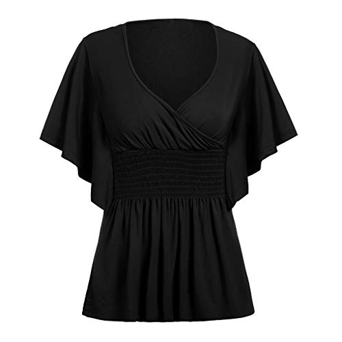 FAPIZI Womens Tops T-Shirt Summer Plus Size Blouse Casual Sexy V-Neck Ruffle Sleeve Tops Shirt Black