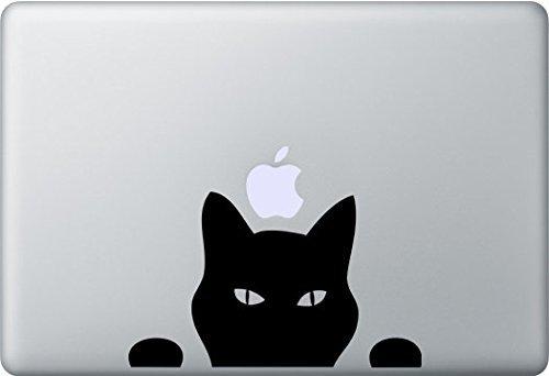 Cat Peeking Decal Vinyl Sticker|Cars Trucks Vans Walls Laptop|BLACK|5.5 in|CCI365 ()