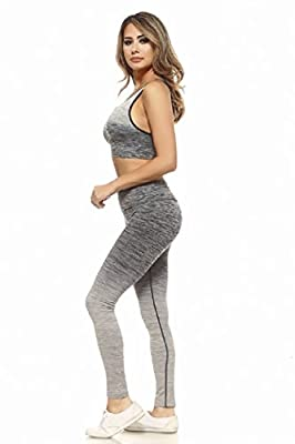 Womens Active Wear Fitness Yoga Exercise Stretch Leggings Sports Bra Athletic Set