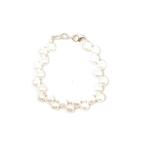 Freshwater Pearl Baby Bracelet - Luxury White Freshwater Pearl Beaded Keepsake Sterling Silver Infant Girl Elegant Bracelet (BFW_M)