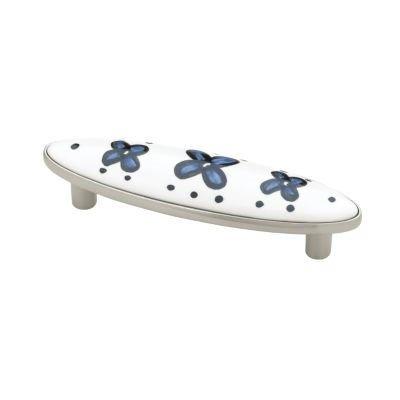 "Satin Nickel w/White Ceramic Blue Flowers Drawer Pull Centers: 3"" - Antique Cabinet, Vintage Cupboard, Old Desk Reproduction Restoration + Free Bonus (Skeleton Key Badge) LQ-PBF695Y-B-C (1)"