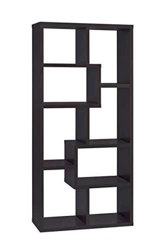Asymmetrical Cube 8-shelf Bookcase Cappuccino