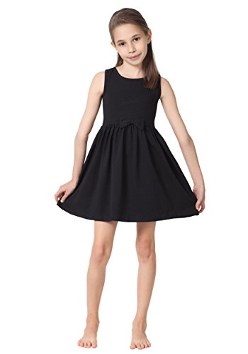 CAOMP Girls Casual Sleeveless Swing Dress, Organic Cotton, Spandex, Scoop Neck, Tagless, 5-6, Black Casual Little Black Dress