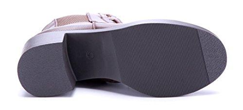 Schuhtempel24 Damen Schuhe Klassische Stiefeletten Stiefel Boots Blockabsatz Reißverschluss/Ziersteine 7 cm Braun
