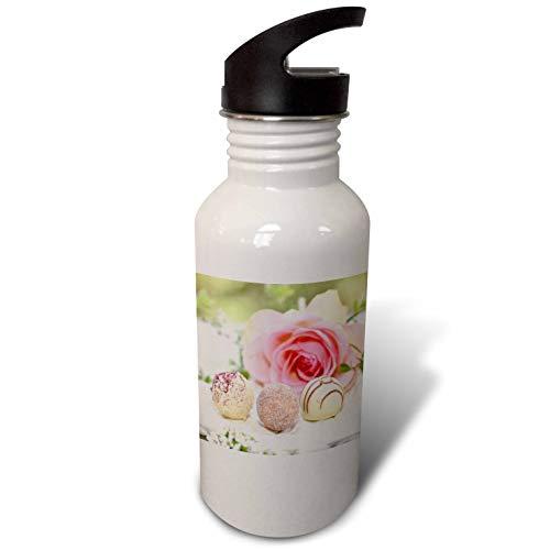 Praline Twist - 3dRose Uta Naumann Photography Stilllife - Pink Rose and Pralines - Beautiful Shabby Chic Photography - Flip Straw 21oz Water Bottle (wb_293303_2)