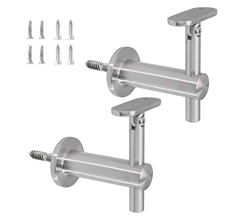 Stainless Steel 316 Grade Wall Mount Adjustable Staircase Handrail Bracket for Flat Surface Square Tubing, WB-210 (2-Pack, Satin Finish)