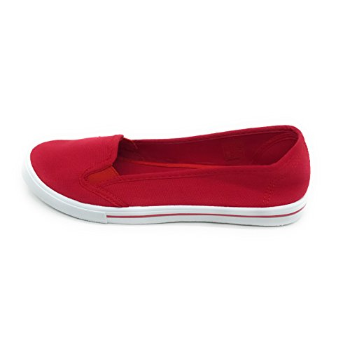 Flat EASY21 Toe on Sneaker Round Fashion Slip Canvas Red Women trBqtwY