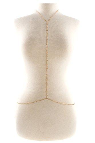 [Karmas Canvas Cross Linked Body Chain (Gold)] (Egyptian Woman Costume Uk)