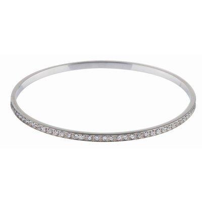 Bracelet Jonc-Acier inoxydable-Oxyde de zirconium-Argent