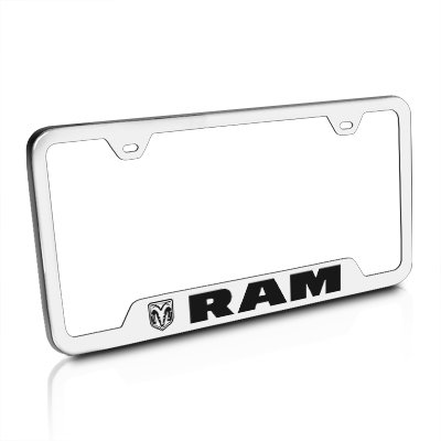 Au-Tomotive Gold, INC. License Plate Frame for Dodge Ram Stainless Steel Chrome - GF.RAM.ES