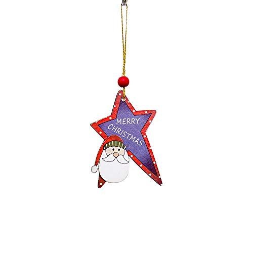 Mome ʕ •ᴥ•ʔ Christmas Ornaments ʕ •ᴥ•ʔ 1 PC Santa Christmas Tree Hang Wood Sleigh Pendant Gift Home Door Hanging Decorations,Santa Snowman Elk (F) ()