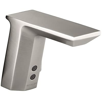 Geometric Single-Hole Touchless Hybrid Energy Cell-Powered Commercial Bathroom Sink Faucet Finish: Vibrant Stainless