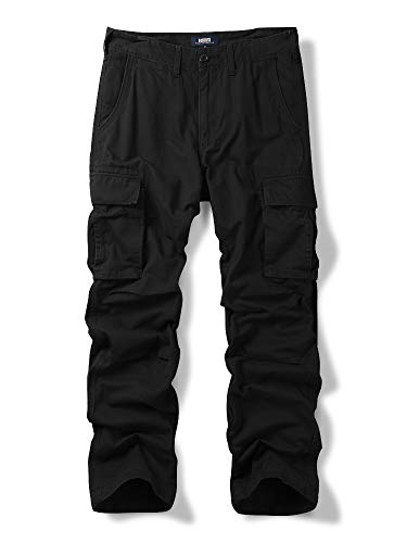 OCHENTA Men's Cotton Military Cargo Pants, 6 Pockets Casual Work Combat Trousers Black 36