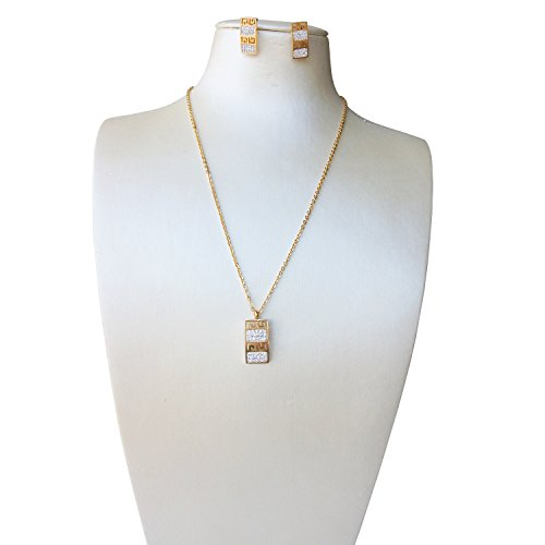 J Shine Gold Tone Stainless Steel Necklace For Women   Earring Set Gn666