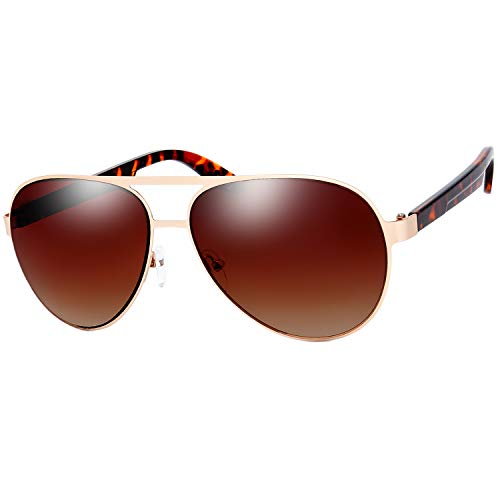 The Fresh Metal Frame Plastic Temple Active Lifestyle Aviator Sunglasses with Gift Box (01-Gold-Demi Amber, Brown Gradient)