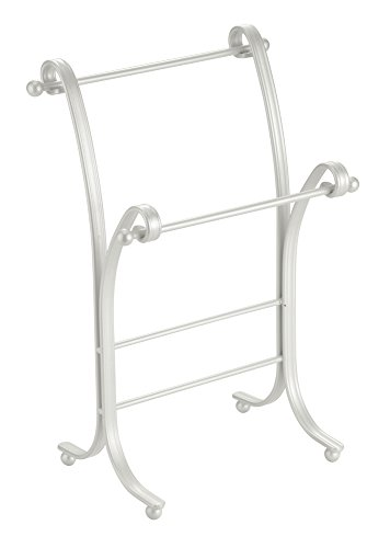 InterDesign York Lyra Fingertip Hand Towel Rack - Free-Standing Bathroom Vanity Towel Holder/Dryer, Pearl White