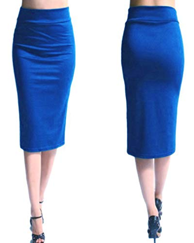 KENANCY Women's High Waist Bodycon Long Skirt Knee Length Pencil Skirts Casual Solid-Blue-Large by KENANCY (Image #1)