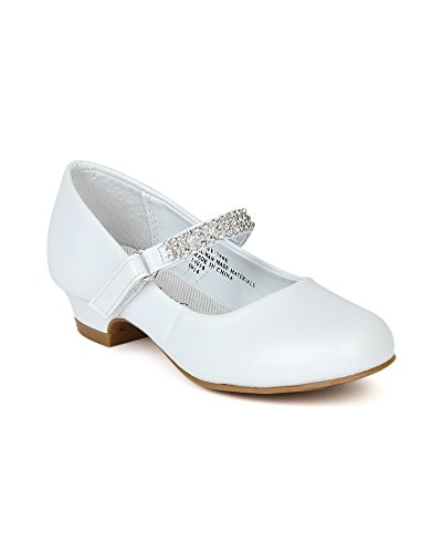 Leatherette Round Toe Rhinestone Velcro Strap Kiddie Heel Pump (Toddler/Little Girl/Big Gril) BC79 - White (Size: Big Kid 3)