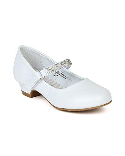 Leatherette Round Toe Rhinestone Velcro Strap Kiddie Heel Pump (Toddler/Little Girl/Big Gril) BC79 - White (Size: Little Kid 2)