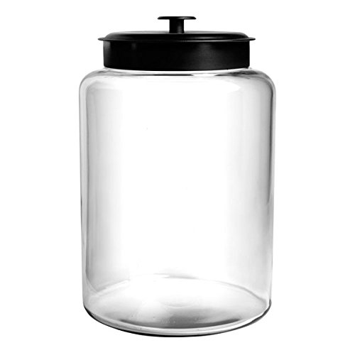 Anchor Hocking Montana Glass Jar with Fresh Sealed Lid, Black Metal, 2.5 Gallon - Large Glass Jar