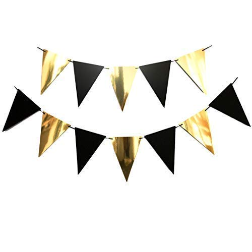 Bobee Black and Gold Banner Party Decoration 9 feet, 12 flags (DIY string to the length ()