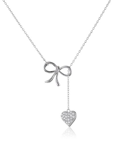 Sterling Silver Cubic Zirconia Bow and Pave Heart Lariat Necklace (0.3 cttw), 16.5