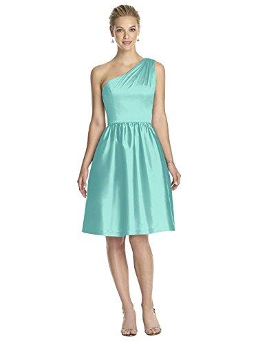 (Dessy Women's Cocktail Length Peau De Soie One Shoulder Dress with Matching Belt - Coastal - Size)