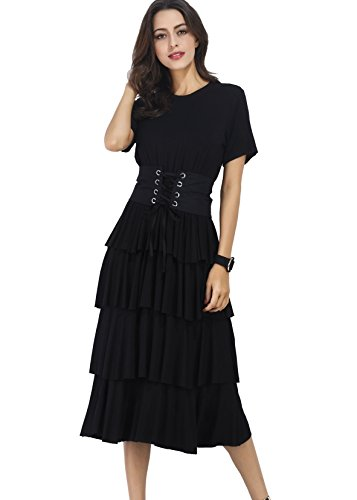 Verdusa Women's Casual Short Sleeve Flounce Tiered A-Line Long Maxi Dress Black S - Long Ruffle Tiered Dress
