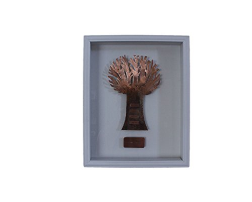 Bronze Family Tree Mounted In White Shadow Box - Personalized Home Wall Art, 8th (Tree Shadow Box)