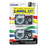 ''Tape Cassettes for KL Label Makers, 9mm x 26ft, Black on Silver, 2/Pack''
