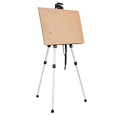 Starworld Protable Best Display Easel stand for Painting Posters, Aluminum Field Easel for Floor Table Top,Lightweight Telescoping Easel + Carry bag White color