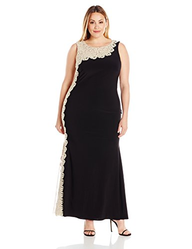 Xscape Women's Plus Size Long Ity with Chemical Lace Side...
