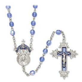 Silver-tone King of Kings Crucifix Rosary Necklace - 28 Inch - JewelryWeb