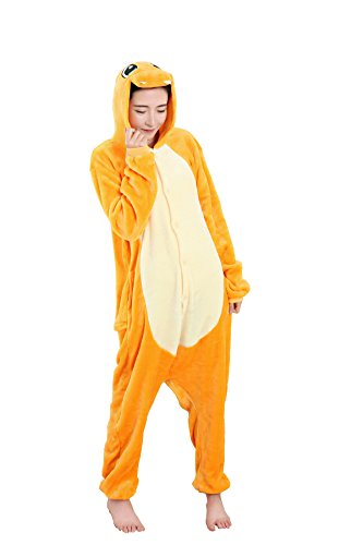 Charmander Costume Halloween (Grilong Unisex Adult Animals Pajamas Onesie Cosplay Costume Cute Sleepwear, Small11_skeleton)