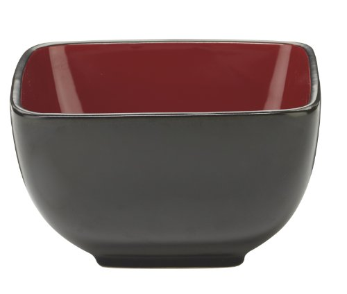 Cuisinart CDST1-BWR Melle Collection Stoneware Open Stock Square Bowl, 5.5-Inch, Red (Open Stock Dinnerware Collection)